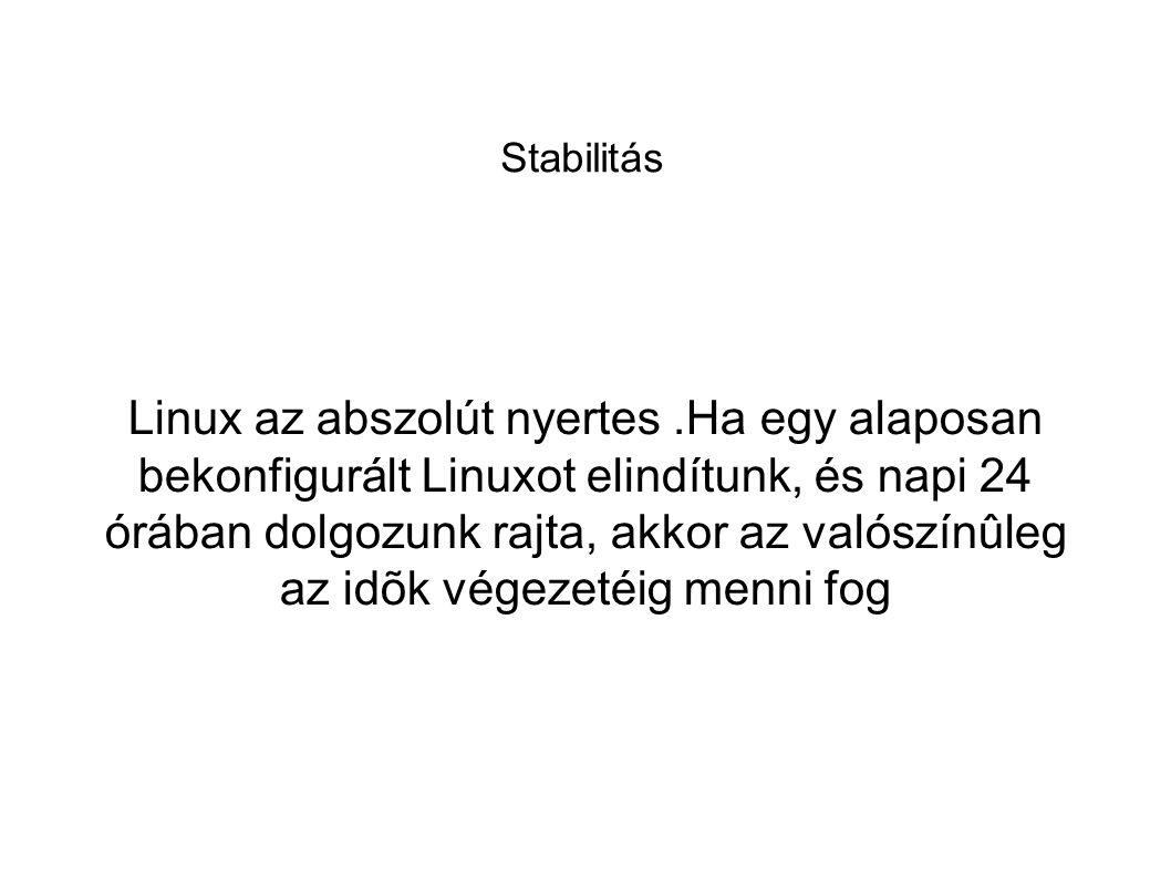 Stabilitás Linux az abszolút nyertes.Ha egy alaposan bekonfigurált Linuxot elindítunk, és napi 24 órában dolgozunk rajta, akkor az valószínûleg az idõ