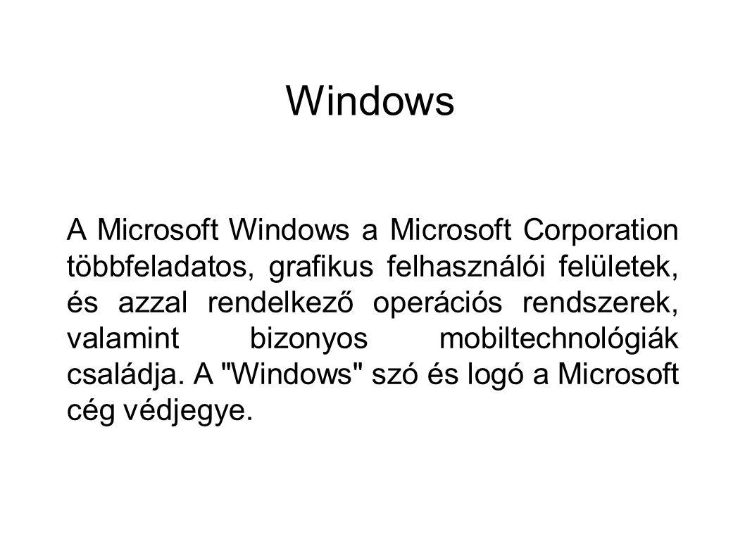 Windows A Microsoft Windows a Microsoft Corporation többfeladatos, grafikus felhasználói felületek, és azzal rendelkező operációs rendszerek, valamint
