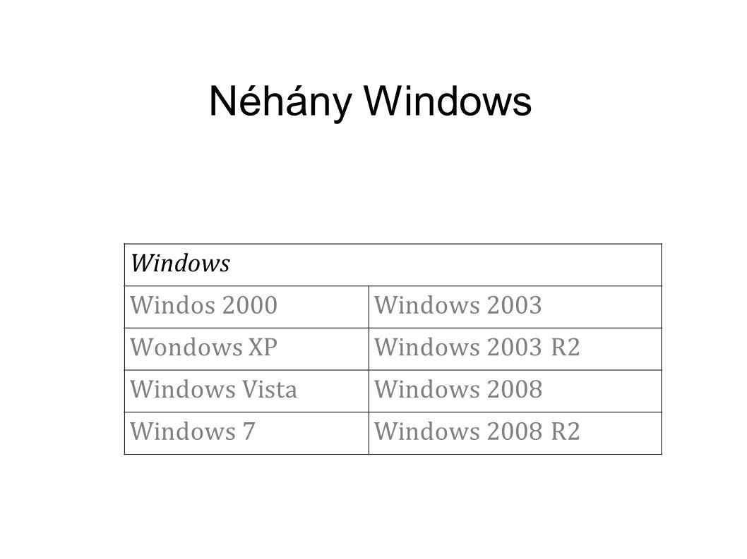 Néhány Windows Windows Windos 2000Windows 2003 Wondows XPWindows 2003 R2 Windows VistaWindows 2008 Windows 7Windows 2008 R2