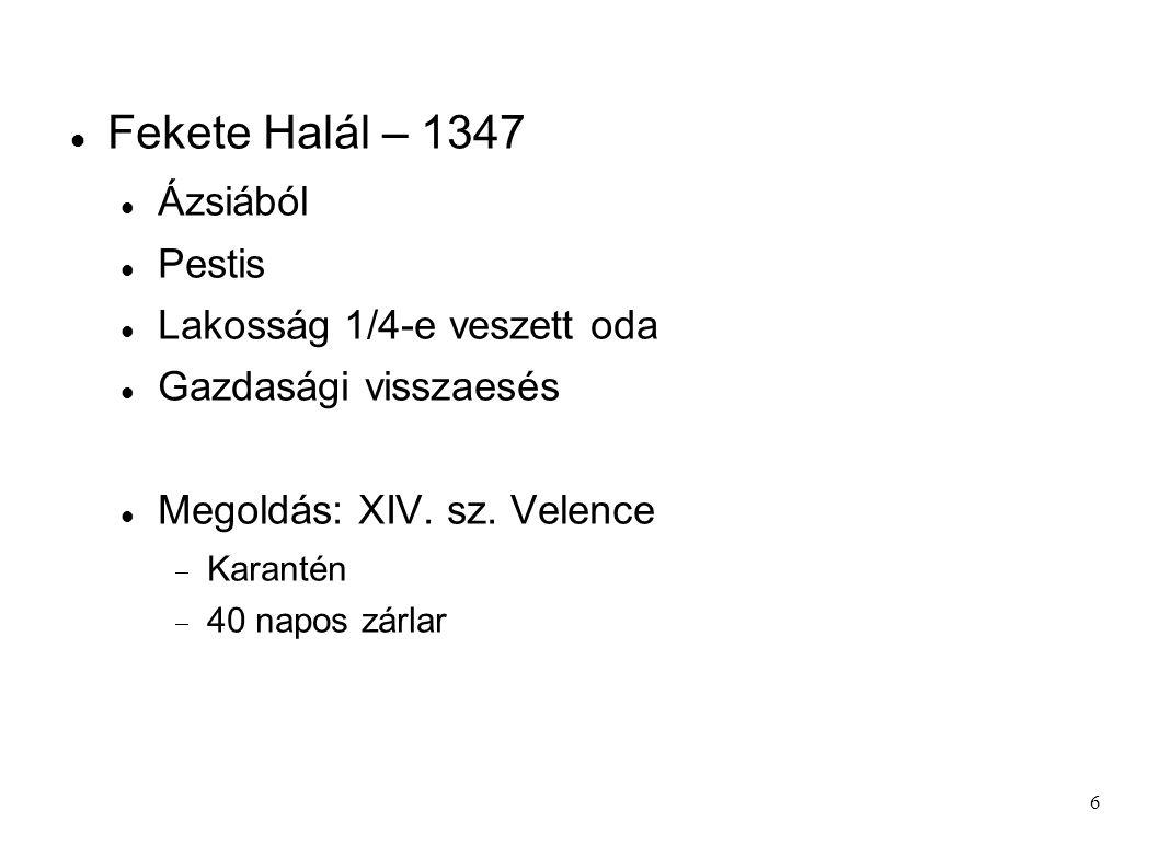 6 Fekete Halál – 1347 Ázsiából Pestis Lakosság 1/4-e veszett oda Gazdasági visszaesés Megoldás: XIV. sz. Velence  Karantén  40 napos zárlar