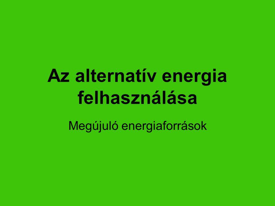 A legfontosabb megújuló energiaforrások: napenergia (naperőmű) napelem napkollektor vízenergia (vízerőmű) árapály-energia szélenergia geotermikus energia biomassza bioetanol biodiesel