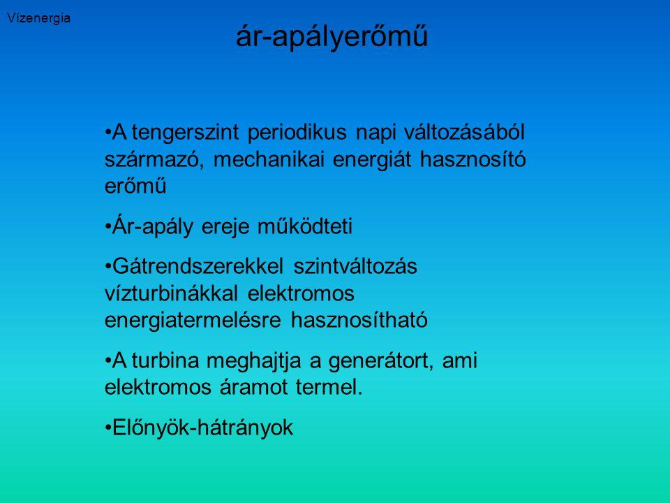 Vízenergia ár-apályerőmű A tengerszint periodikus napi változásából származó, mechanikai energiát hasznosító erőmű Ár-apály ereje működteti Gátrendsze
