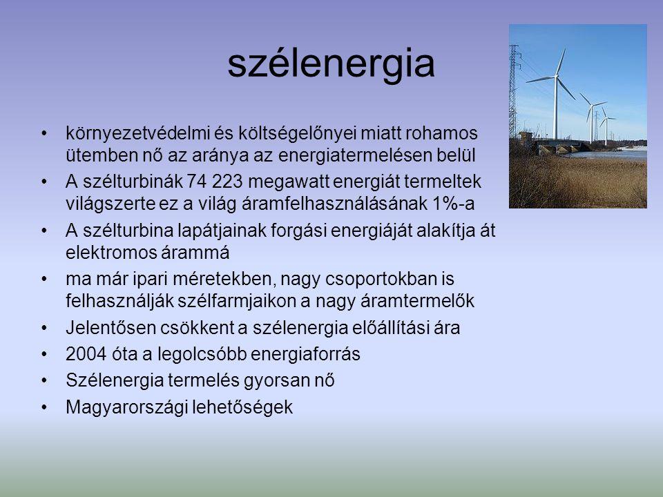 Geotermikus energia A legolcsóbb, leginkább gazdaságos megújuló energiaforrások egyike A Föld mélyéből felfelé áradó hőenergia Magyarország nagyon jó adottságokkal rendelkezik Fűtési beruházás jó adottságok esetében 5 év alatt is megtérülhet Legelterjedtebb felhasználási módja, hogy hőenergiát fűtésre, illetve használati meleg víz előállítására használják 100 Celsius-fok feletti víz, illetve gőz energiájának elektromos árammá alakítása Hőszivattyú házak, lakások fűtésére Magyarországon jelentős hévízkészletek vannak