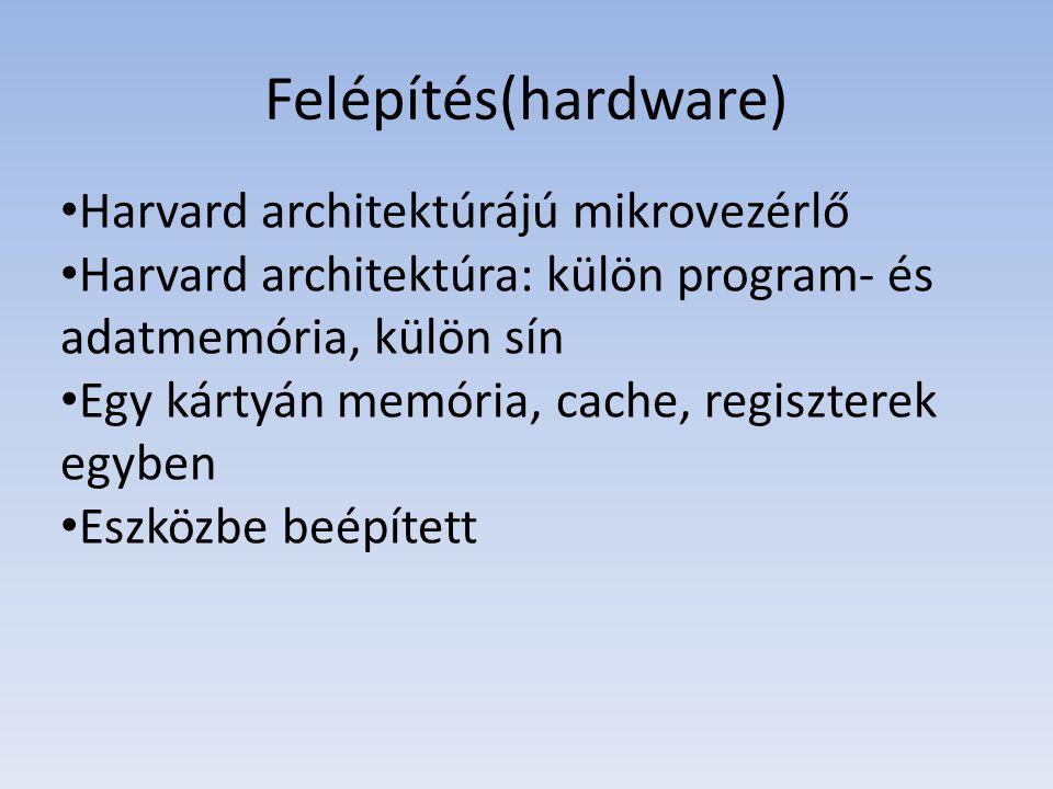 Felépítés(hardware) Harvard architektúrájú mikrovezérlő Harvard architektúra: külön program- és adatmemória, külön sín Egy kártyán memória, cache, reg