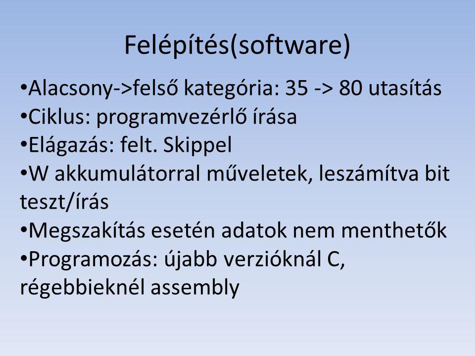 Felépítés(software) Alacsony->felső kategória: 35 -> 80 utasítás Ciklus: programvezérlő írása Elágazás: felt. Skippel W akkumulátorral műveletek, lesz
