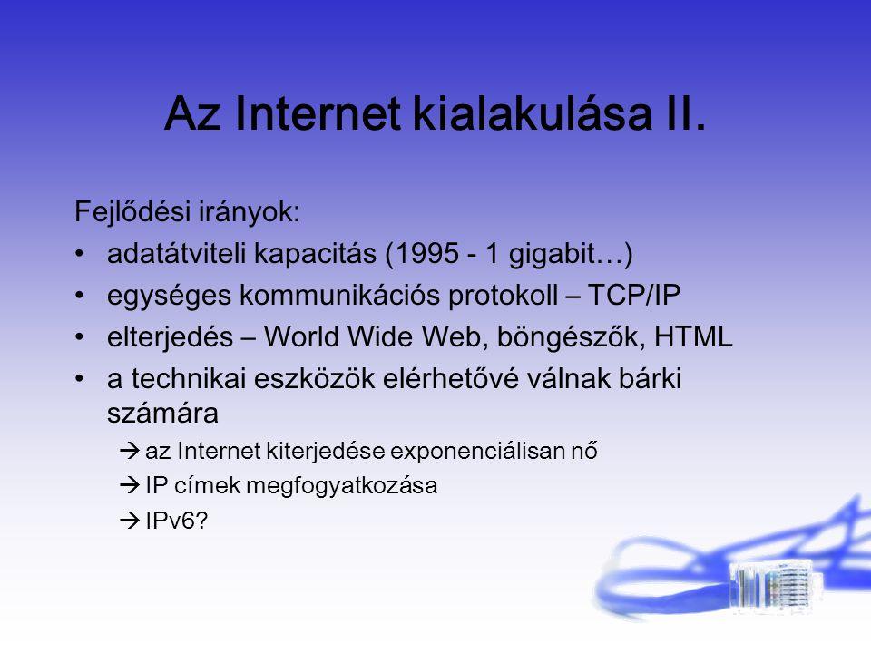Az Internet kialakulása II.