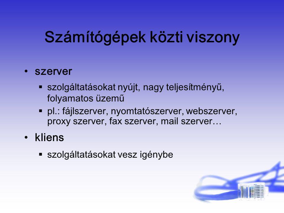 Számítógépek közti viszony szerver  szolgáltatásokat nyújt, nagy teljesítményű, folyamatos üzemű  pl.: fájlszerver, nyomtatószerver, webszerver, proxy szerver, fax szerver, mail szerver… kliens  szolgáltatásokat vesz igénybe