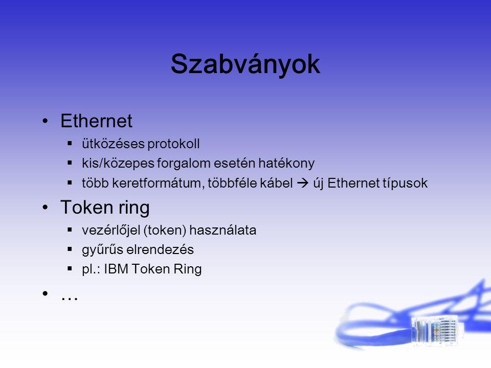 Szabványok Ethernet  ütközéses protokoll  kis/közepes forgalom esetén hatékony  több keretformátum, többféle kábel  új Ethernet típusok Token ring  vezérlőjel (token) használata  gyűrűs elrendezés  pl.: IBM Token Ring …