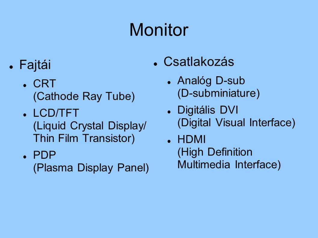 Monitor Fajtái CRT (Cathode Ray Tube) LCD/TFT (Liquid Crystal Display/ Thin Film Transistor) PDP (Plasma Display Panel) Csatlakozás Analóg D-sub (D-su