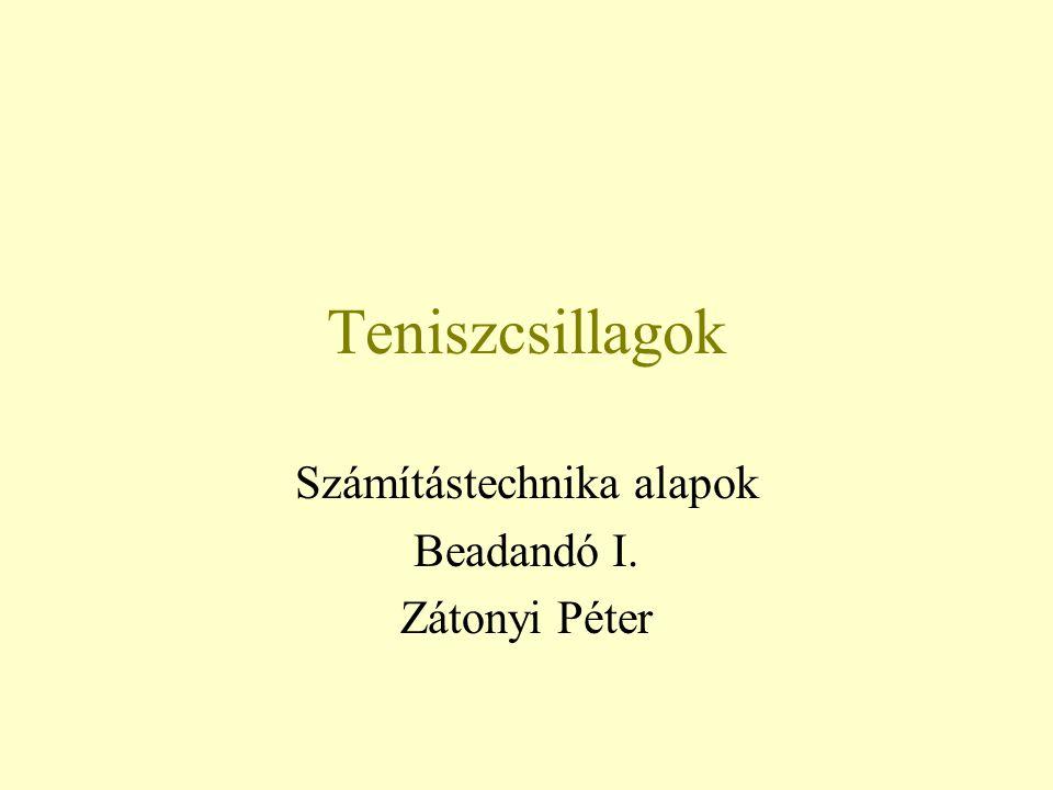 Teniszcsillagok Számítástechnika alapok Beadandó I. Zátonyi Péter