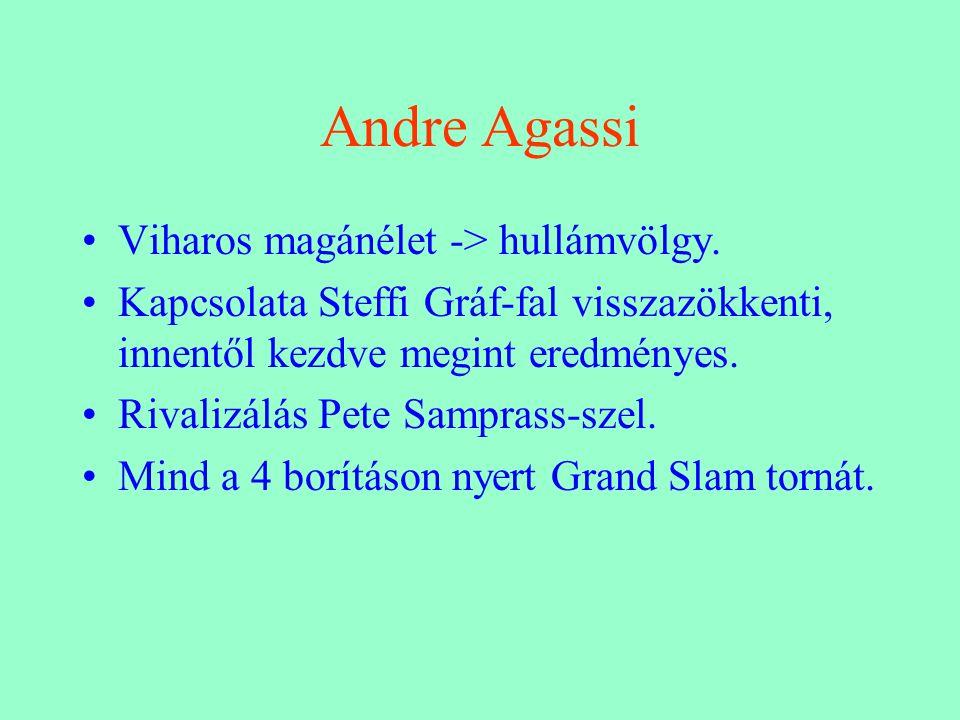 Andre Agassi Viharos magánélet -> hullámvölgy.