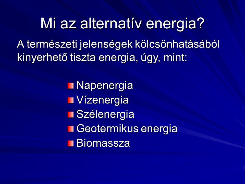 Használatának előnyei Megújuló Nem szennyezi a környezetet Nem járul hozzá a globális felmelegedéshez Országok gazdasága nem válik kiszolgáltatottá (példa: orosz-ukrán gázvita)