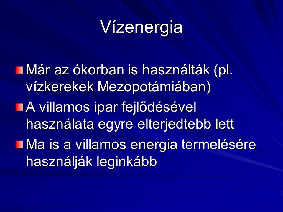 Geotermikus energia A földkéreg természetes hője A Föld középpontja felé közeledve nő a hőmérséklet Magyarország területén a földkéreg 1,5-szerese az Európai átlagnak Használható távfűtése, kertészeti, gyógyászati célokra 1500 Celsius fölött használható villamosenergia előállítására A hőszivattyú a hűtőszekrény működéséhez hasonlóan környezete hőjét használja fel A geotermikus energiát hasznosító hőszivattyú