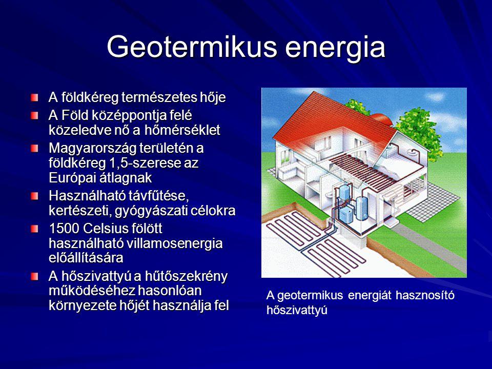 Szélenergia Villamosenergia- termelésre használják A mozgó légtömeg megforgatja lapátokat, az így nyert forgási energiát generátorok alakítják villamossággá Magyarország kevésbé szeles terület, a szélenergia gazdaságos hasznosításához 6 m/s- os szélsebesség kell Szélturbinák