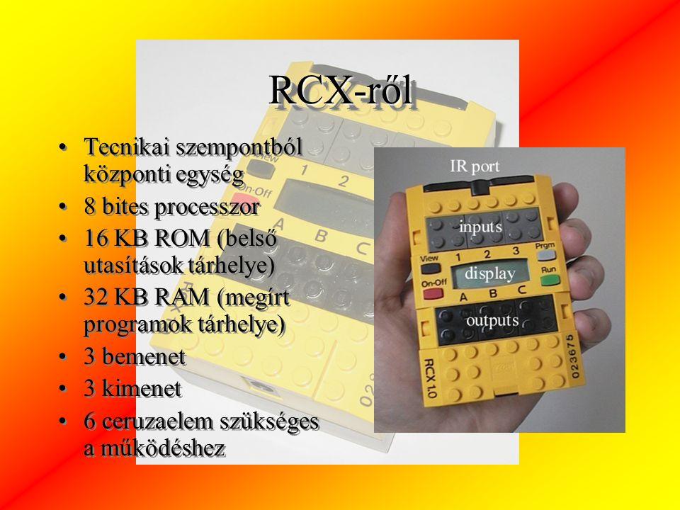 RCX-rőlRCX-ről Tecnikai szempontból központi egység 8 bites processzor 16 KB ROM (belső utasítások tárhelye) 32 KB RAM (megírt programok tárhelye) 3 bemenet 3 kimenet 6 ceruzaelem szükséges a működéshez Tecnikai szempontból központi egység 8 bites processzor 16 KB ROM (belső utasítások tárhelye) 32 KB RAM (megírt programok tárhelye) 3 bemenet 3 kimenet 6 ceruzaelem szükséges a működéshez