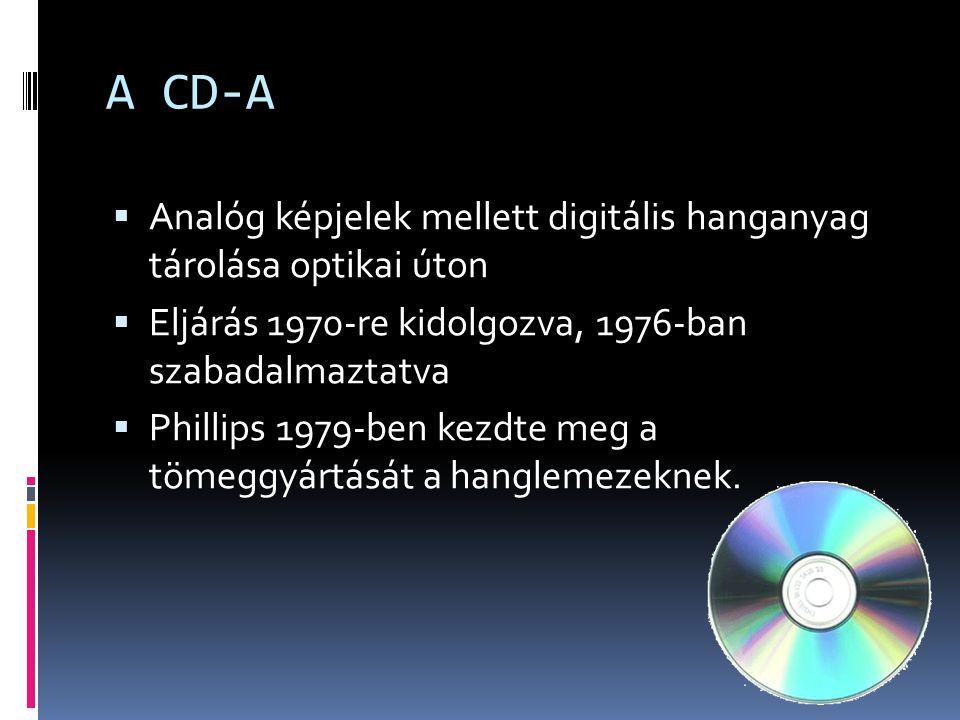 A CD-A  Analóg képjelek mellett digitális hanganyag tárolása optikai úton  Eljárás 1970-re kidolgozva, 1976-ban szabadalmaztatva  Phillips 1979-ben kezdte meg a tömeggyártását a hanglemezeknek.