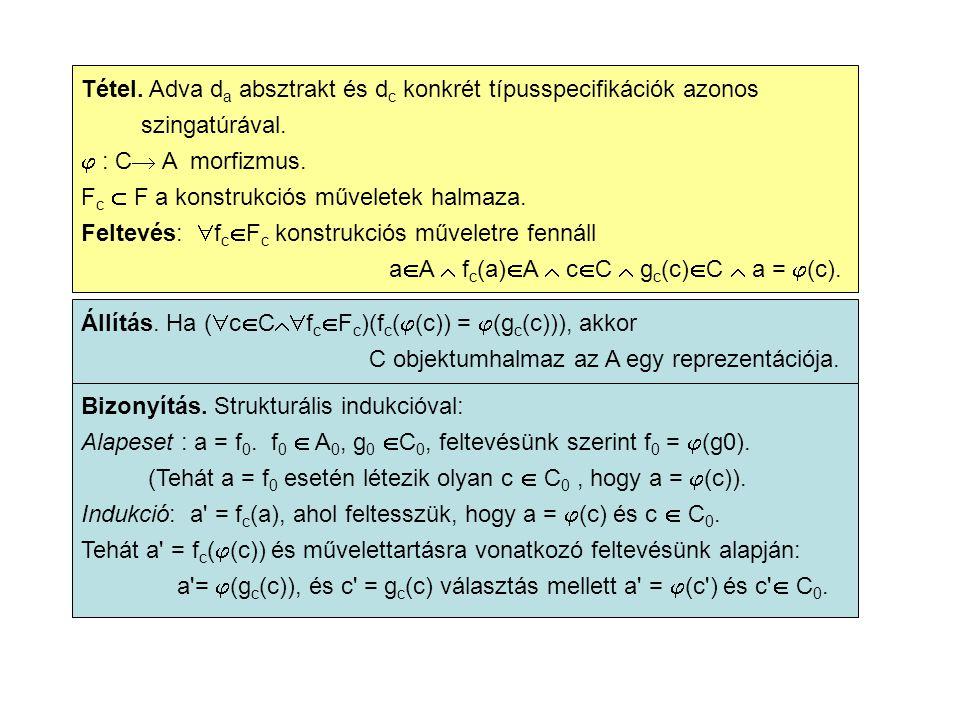 Tétel. Adva d a absztrakt és d c konkrét típusspecifikációk azonos szingatúrával.