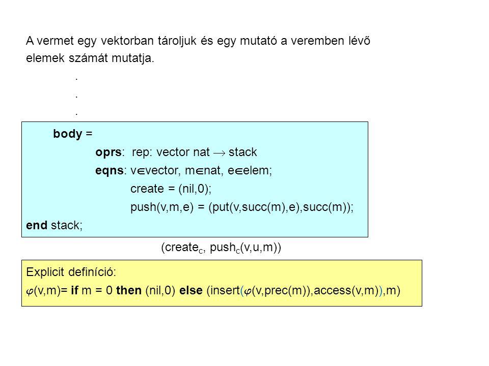 A vermet egy vektorban tároljuk és egy mutató a veremben lévő elemek számát mutatja..