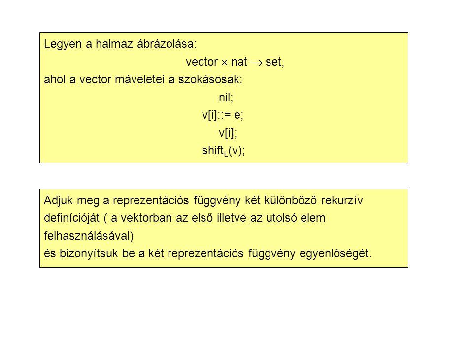 Legyen a halmaz ábrázolása: vector  nat  set, ahol a vector máveletei a szokásosak: nil; v[i]::= e; v[i]; shift L (v); Adjuk meg a reprezentációs függvény két különböző rekurzív definícióját ( a vektorban az első illetve az utolsó elem felhasználásával) és bizonyítsuk be a két reprezentációs függvény egyenlőségét.
