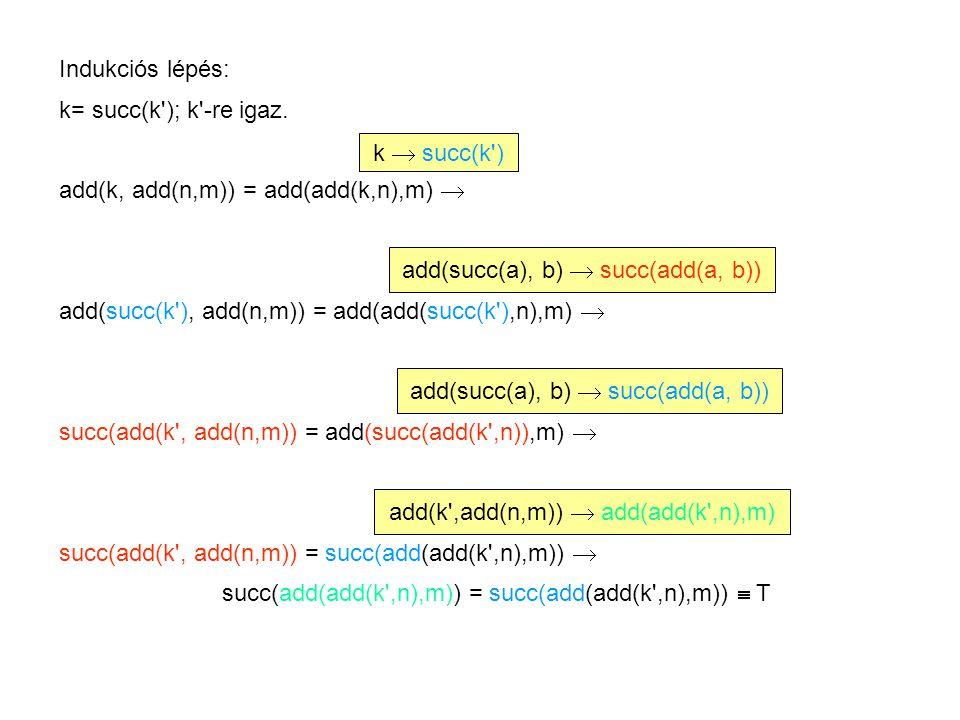 Indukciós lépés: k= succ(k ); k -re igaz.