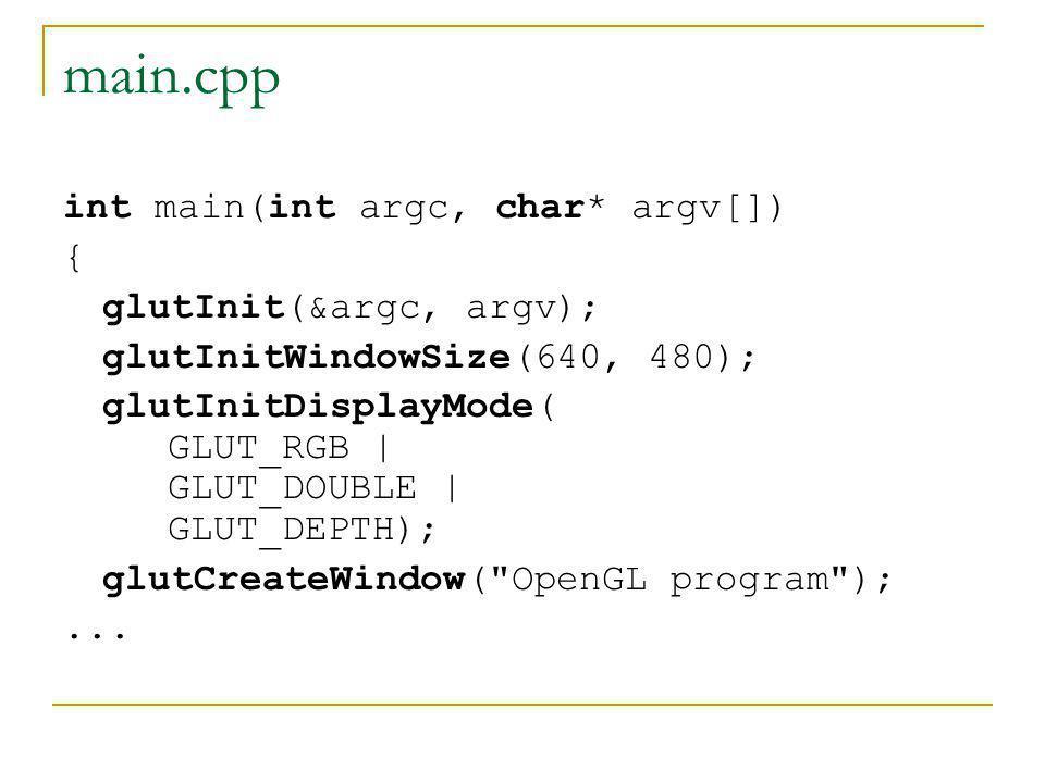 glutInit glutInit( int *argcp, char **argv) A GLUT segédkönyvtár inicializálása argcp: a programunk parancssorának számát tartalmazó módosítatlan változóra