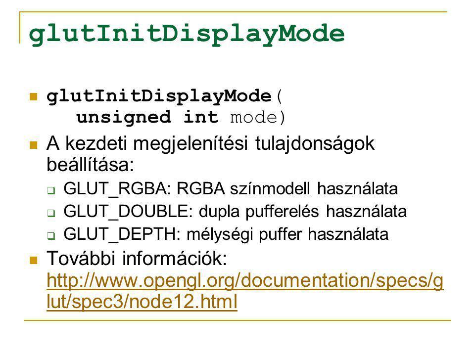 glutCreateWindow glutCreateWindow( char *name) A paraméterben megadott feliratú ablak létrehozása