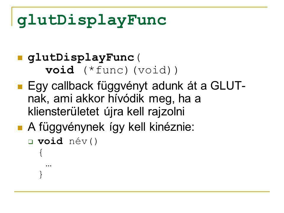 glutIdleFunc glutIdleFunc( void (*func)(void)) Egy callback függvényt adunk át a GLUT- nak, ami akkor hívódik meg, ha nincs feldolgozásra váró üzenete az ablakunknak A függvénynek így kell kinéznie itt is:  void név() { … }