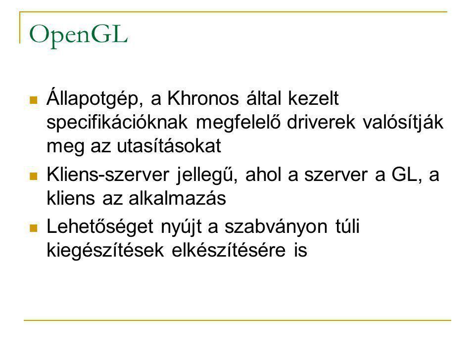 OpenGL Verziók:  OpenGL 1.0: 1992.július 1.  OpenGL 2.0: 2004.