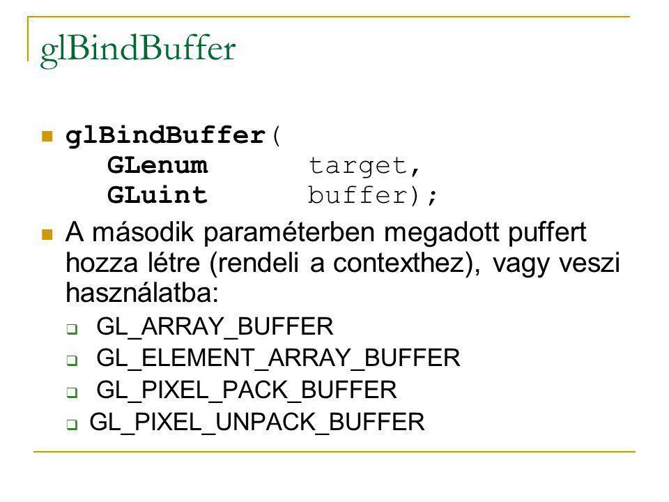glBufferData glBufferData( enum target, sizeiptr size, const void *data, enum usage) A tényleges memóriafoglalás itt történik meg Ha már létező pufferre hívjuk meg, akkor újrafoglalódik neki memóriaterület Meglévő memória átírására: glBufferSubData