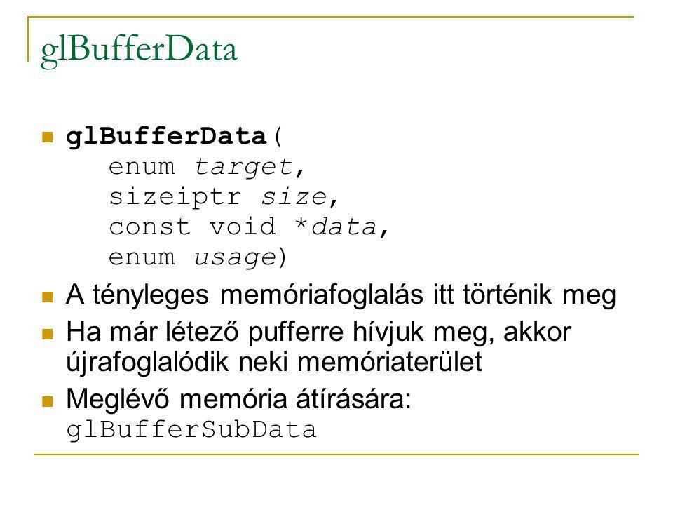 glBufferData glBufferData( enum target, sizeiptr size, const void *data, enum usage) Milyen puffert hozunk létre:  GL_ARRAY_BUFFER  GL_ELEMENT_ARRAY_BUFFER  GL_PIXEL_PACK_BUFFER  GL_PIXEL_UNPACK_BUFFER