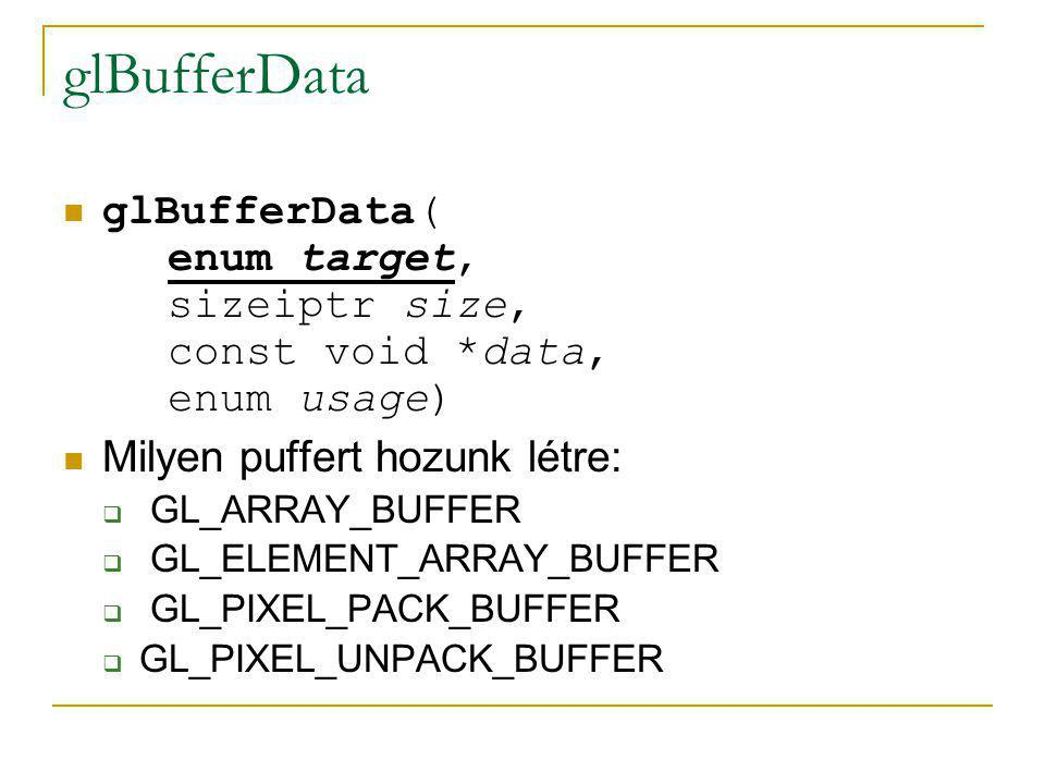 glBufferData glBufferData( enum target, sizeiptr size, const void *data, enum usage) Milyen puffert hozunk létre:  GL_ARRAY_BUFFER  GL_ELEMENT_ARRAY