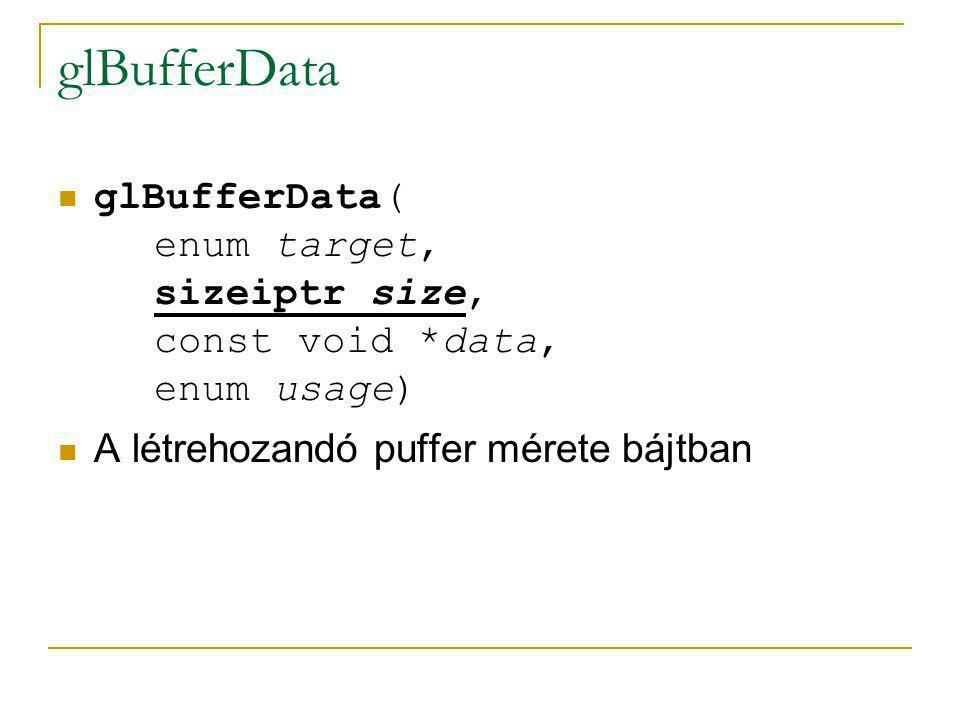 glBufferData glBufferData( enum target, sizeiptr size, const void *data, enum usage) Memóriaterület, ahonnan feltöltődik a puffer a méretének megfelelő bájtnyi adattal