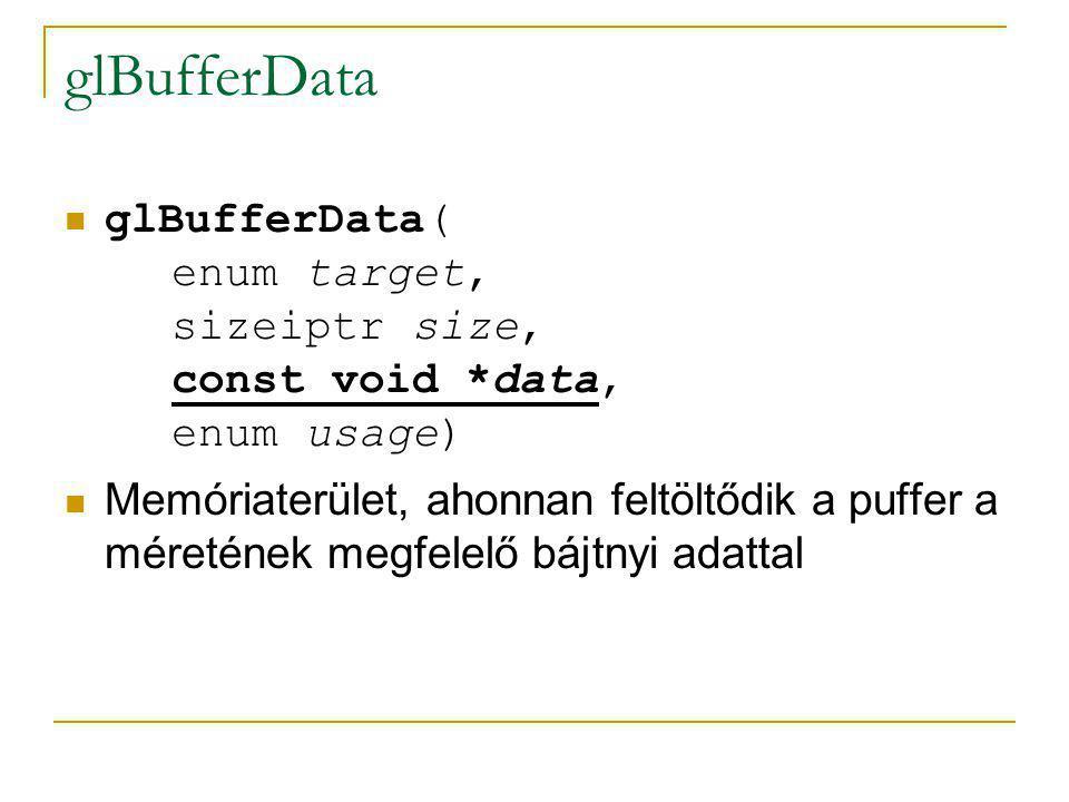 glBufferData glBufferData( enum target, sizeiptr size, const void *data, enum usage) A puffer felhasználási módja, adatfeltöltés gyakoriságának szempontjából:  STATIC: csak egyszer lesz adat feltöltve rá  STREAM: használat után változó tartalom  DYNAMIC: többszöri változtatások, de egy-egy változtatás után többszöri felhasználás