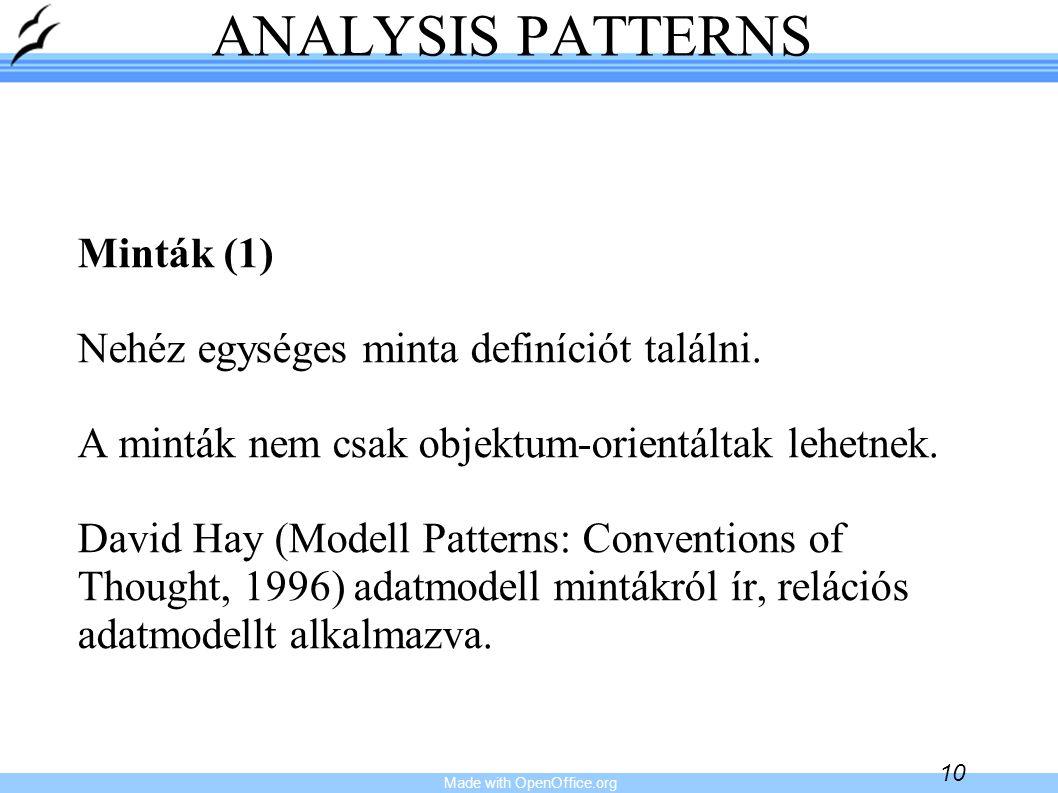 Made with OpenOffice.org 10 ANALYSIS PATTERNS Minták (1) Nehéz egységes minta definíciót találni. A minták nem csak objektum-orientáltak lehetnek. Dav