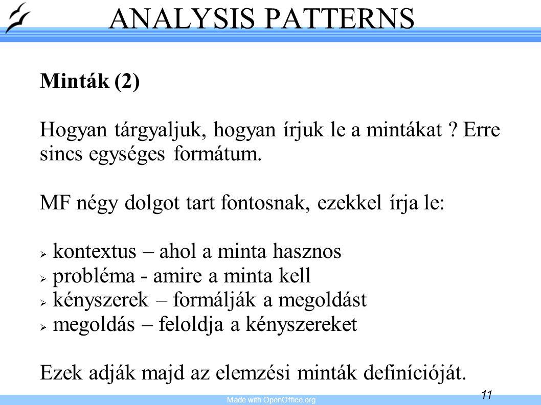 Made with OpenOffice.org 11 ANALYSIS PATTERNS Minták (2) Hogyan tárgyaljuk, hogyan írjuk le a mintákat ? Erre sincs egységes formátum. MF négy dolgot