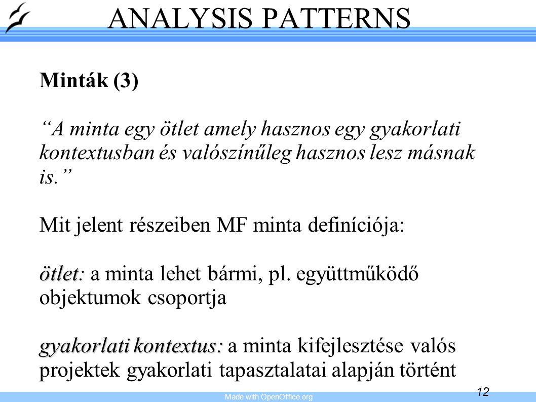 """Made with OpenOffice.org 12 ANALYSIS PATTERNS Minták (3) """"A minta egy ötlet amely hasznos egy gyakorlati kontextusban és valószínűleg hasznos lesz más"""