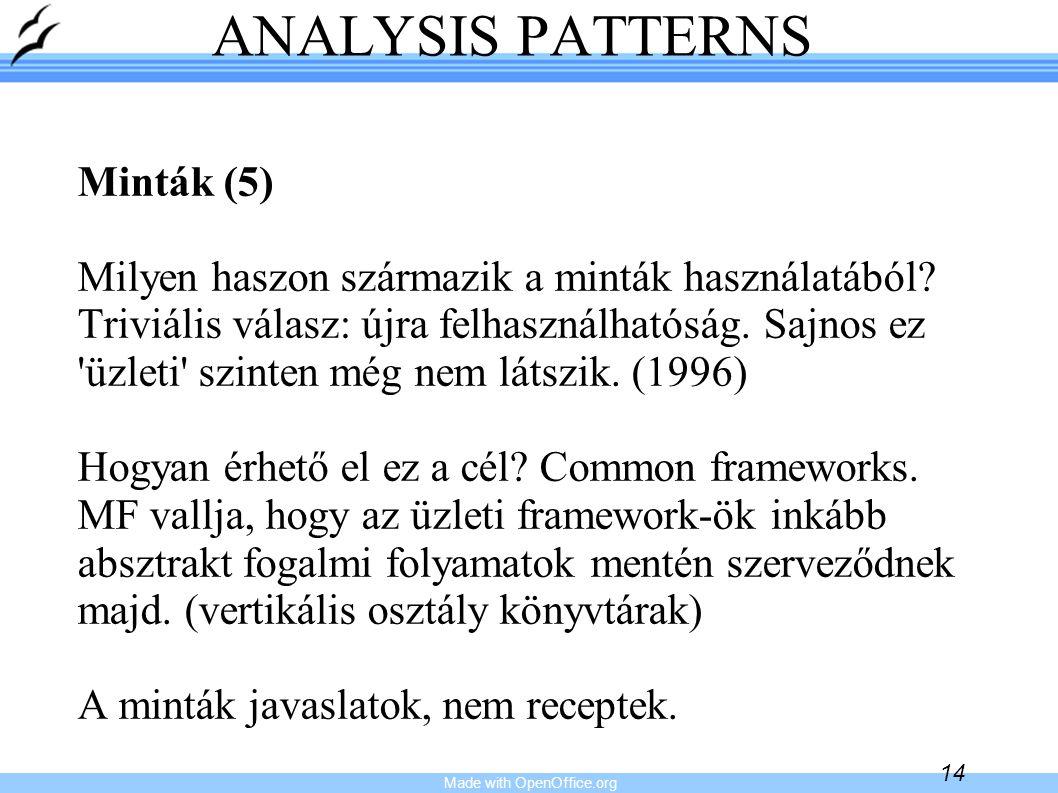 Made with OpenOffice.org 14 ANALYSIS PATTERNS Minták (5) Milyen haszon származik a minták használatából? Triviális válasz: újra felhasználhatóság. Saj