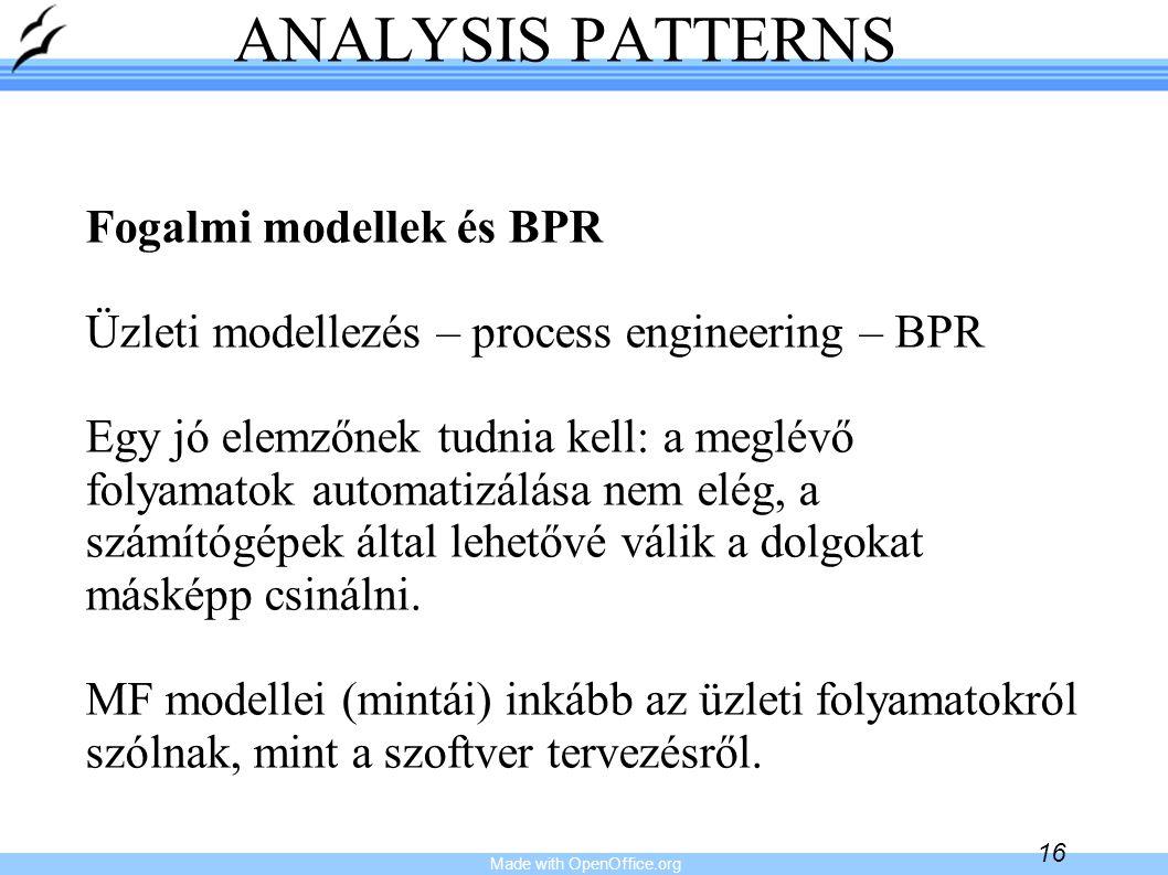 Made with OpenOffice.org 16 ANALYSIS PATTERNS Fogalmi modellek és BPR Üzleti modellezés – process engineering – BPR Egy jó elemzőnek tudnia kell: a me
