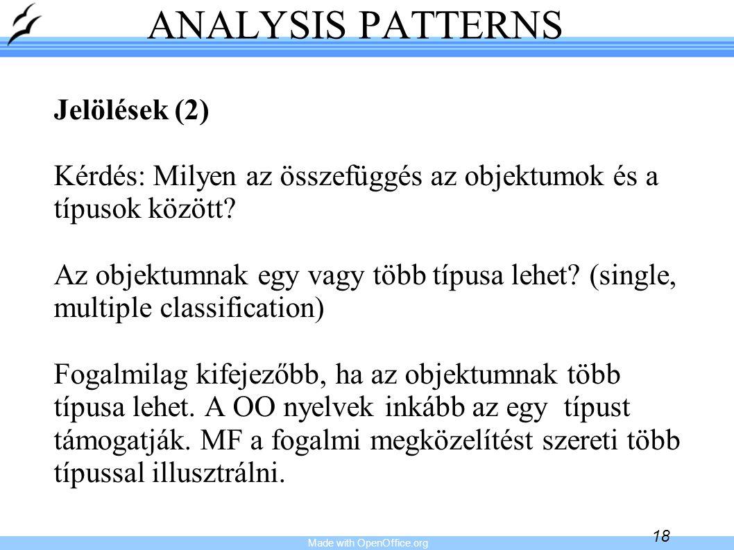 Made with OpenOffice.org 18 ANALYSIS PATTERNS Jelölések (2) Kérdés: Milyen az összefüggés az objektumok és a típusok között? Az objektumnak egy vagy t