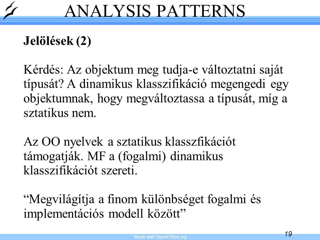 Made with OpenOffice.org 19 ANALYSIS PATTERNS Jelölések (2) Kérdés: Az objektum meg tudja-e változtatni saját típusát? A dinamikus klasszifikáció mege