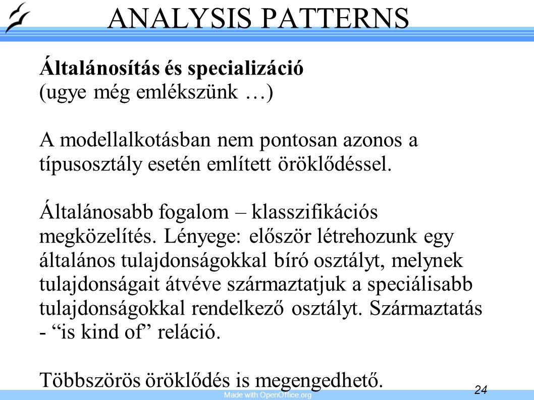 Made with OpenOffice.org 24 ANALYSIS PATTERNS Általánosítás és specializáció (ugye még emlékszünk …) A modellalkotásban nem pontosan azonos a típusosz