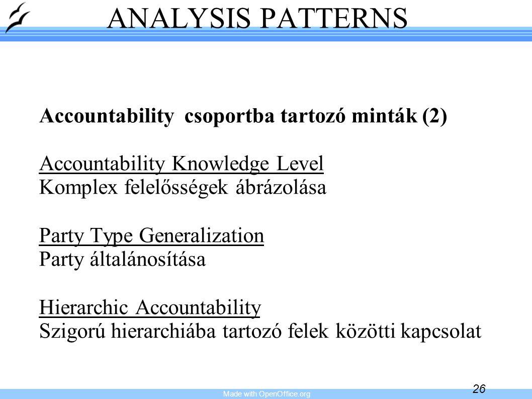 Made with OpenOffice.org 26 ANALYSIS PATTERNS Accountability csoportba tartozó minták (2) Accountability Knowledge Level Komplex felelősségek ábrázolá