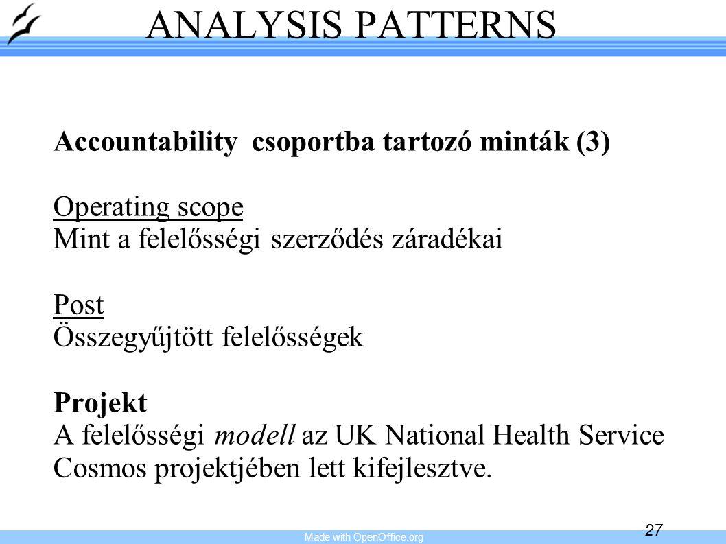 Made with OpenOffice.org 27 ANALYSIS PATTERNS Accountability csoportba tartozó minták (3) Operating scope Mint a felelősségi szerződés záradékai Post