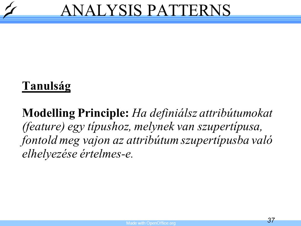 Made with OpenOffice.org 38 ANALYSIS PATTERNS Accountability Knowledge Level (1)