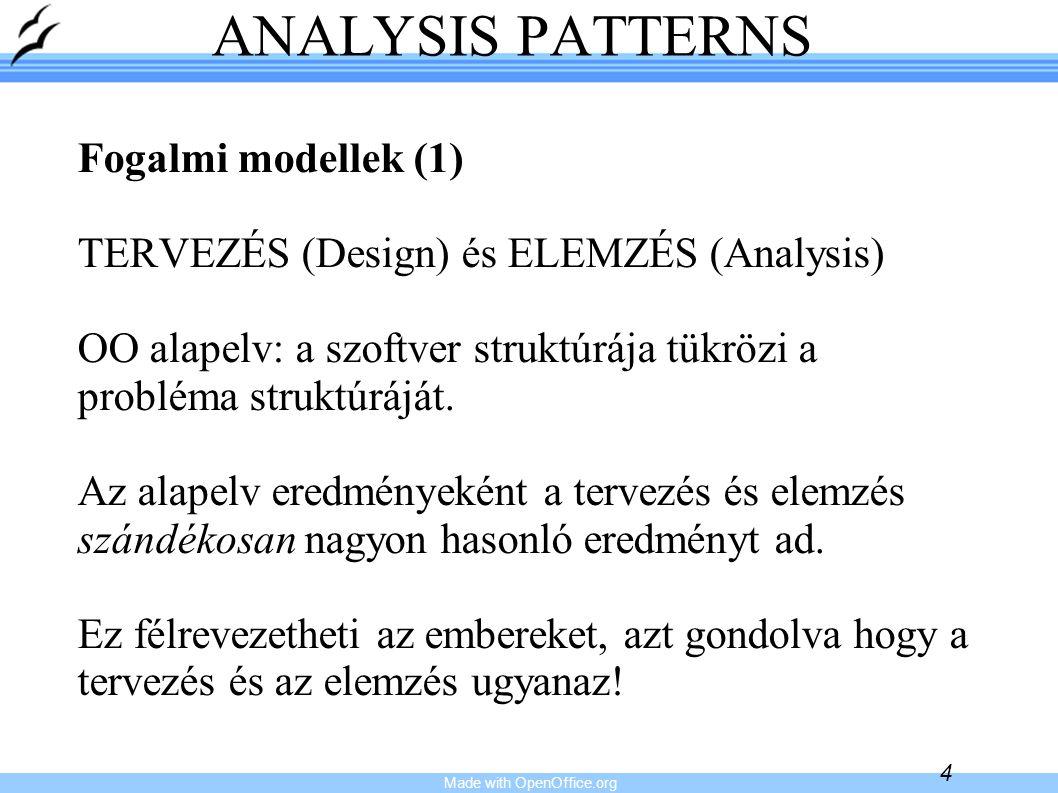 Made with OpenOffice.org 4 ANALYSIS PATTERNS Fogalmi modellek (1) TERVEZÉS (Design) és ELEMZÉS (Analysis) OO alapelv: a szoftver struktúrája tükrözi a