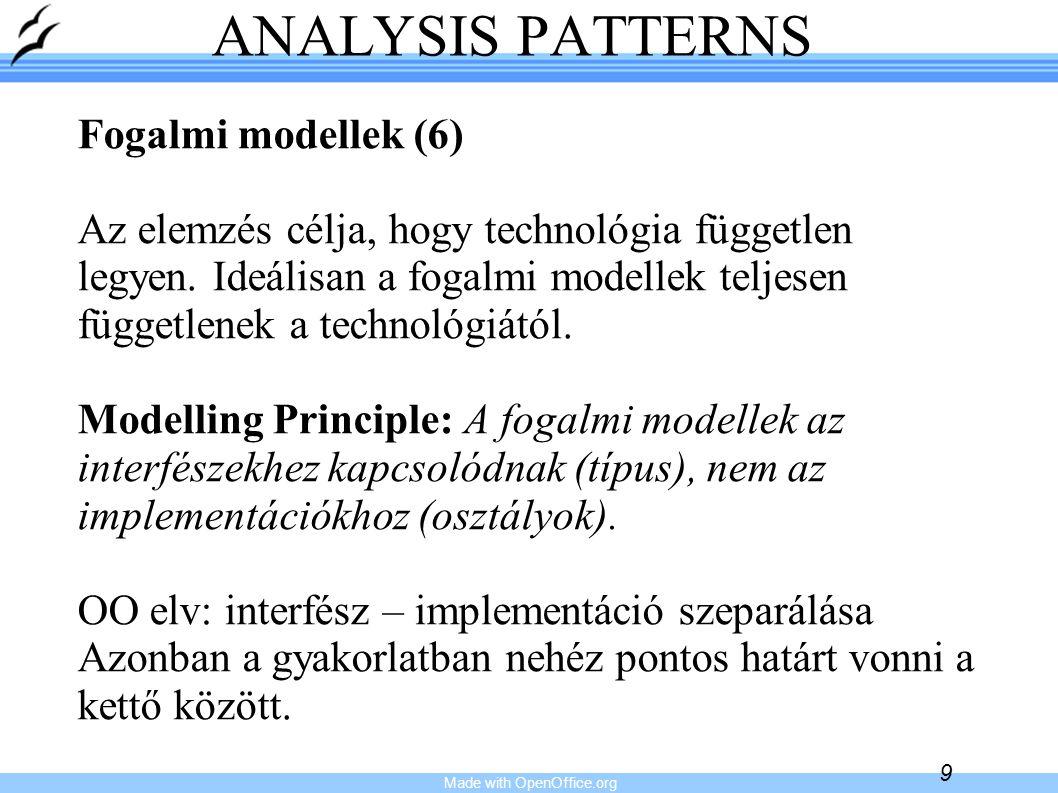 Made with OpenOffice.org 9 ANALYSIS PATTERNS Fogalmi modellek (6) Az elemzés célja, hogy technológia független legyen. Ideálisan a fogalmi modellek te