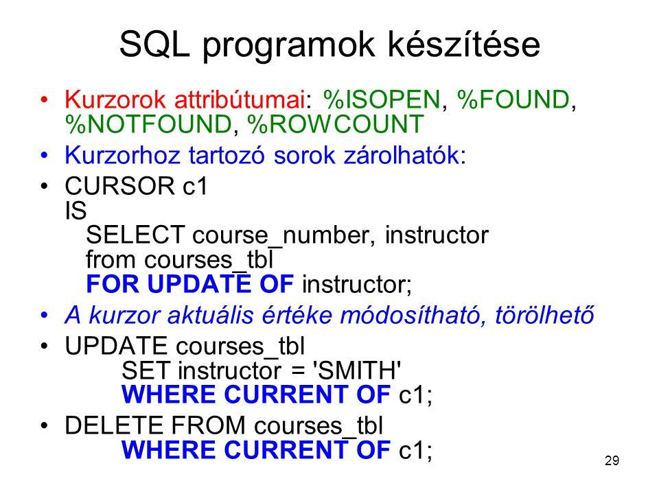 29 SQL programok készítése Kurzorok attribútumai: %ISOPEN, %FOUND, %NOTFOUND, %ROWCOUNT Kurzorhoz tartozó sorok zárolhatók: CURSOR c1 IS SELECT course_number, instructor from courses_tbl FOR UPDATE OF instructor; A kurzor aktuális értéke módosítható, törölhető UPDATE courses_tbl SET instructor = SMITH WHERE CURRENT OF c1; DELETE FROM courses_tbl WHERE CURRENT OF c1;