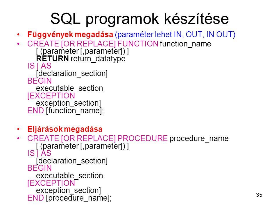 35 SQL programok készítése Függvények megadása (paraméter lehet IN, OUT, IN OUT) CREATE [OR REPLACE] FUNCTION function_name [ (parameter [,parameter]) ] RETURN return_datatype IS | AS [declaration_section] BEGIN executable_section [EXCEPTION exception_section] END [function_name]; Eljárások megadása CREATE [OR REPLACE] PROCEDURE procedure_name [ (parameter [,parameter]) ] IS | AS [declaration_section] BEGIN executable_section [EXCEPTION exception_section] END [procedure_name];