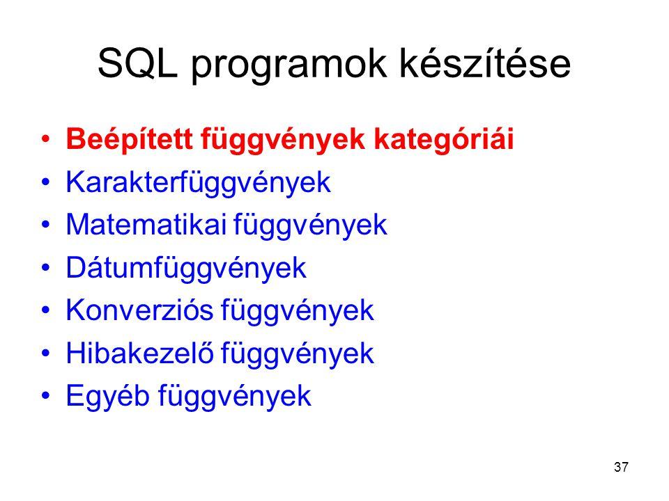 37 SQL programok készítése Beépített függvények kategóriái Karakterfüggvények Matematikai függvények Dátumfüggvények Konverziós függvények Hibakezelő függvények Egyéb függvények