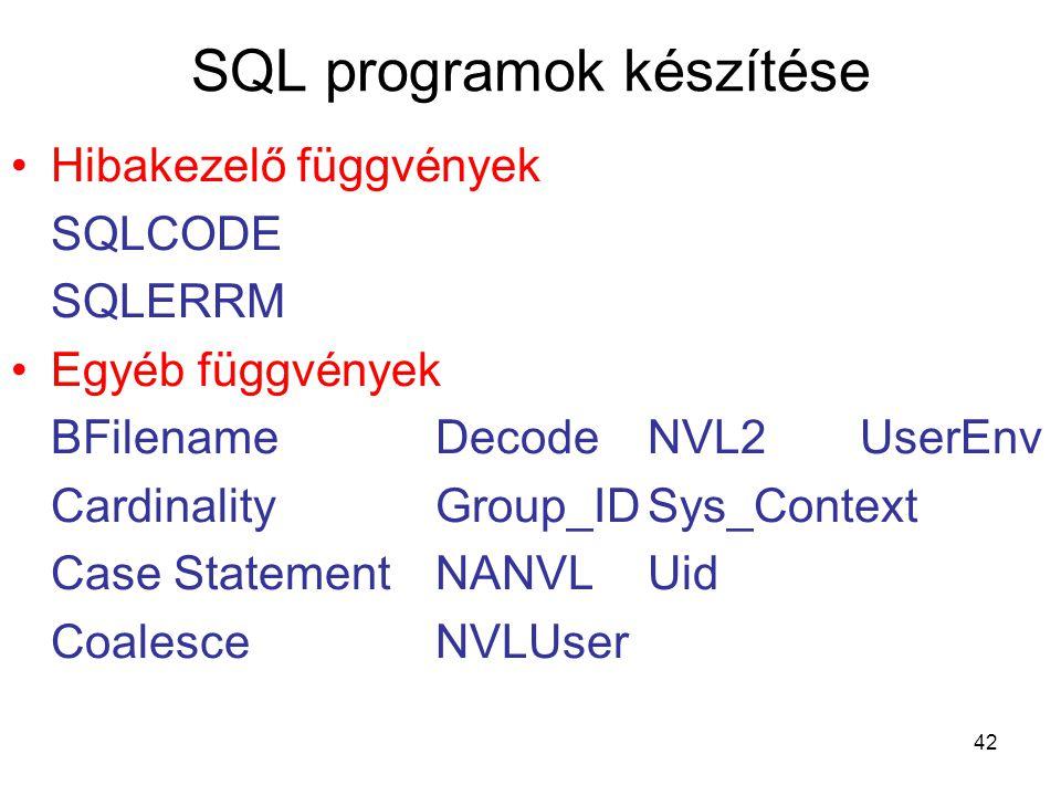 42 SQL programok készítése Hibakezelő függvények SQLCODE SQLERRM Egyéb függvények BFilename DecodeNVL2UserEnv Cardinality Group_IDSys_Context Case StatementNANVLUid CoalesceNVLUser